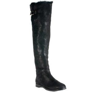 Jimmy Choo Over The Knee Rabbit Fur Lined Boots